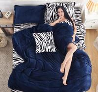 Wholesale Fashion leopard zebra pure cashmere Four piece thick flannel bedding Suite Home Textile TY2075