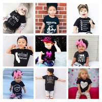 Wholesale Newborn Tops Fashion Letter Print Cotton Clothes For Babies Summer Style Baby Boy Girl Black Clothing