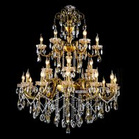 20 ~ 25sq.m antique brass lamp - Large Luxury Tiers Arms Crystal Chandelier Light Fixture Antique Brass Luxurious Crystal Lustre Lamp for Hotel Villa MD8504 L24
