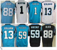 Men american football jersey black - Quality Elite Stitched Embroidery Cam Newton Kelvin Benjamin Luke Kuechly Greg Olsen Men American Football Sports Jerseys