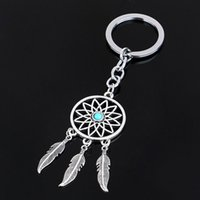 Wholesale 2016 Fashion Dream Catcher Silver Tone Key Chain Silver Rings Feather Tassels Keyring Keychain For Gift