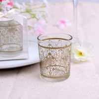 Wholesale Lace Pattern Candle Holders Wedding Favors Glass Tea Light Candlestick Party Favor Gift Home Decoration New