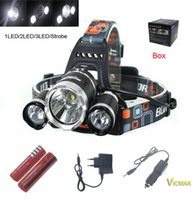 Wholesale by DHL LM LED Headlight Headlamp Bike Lamp Outdoor Rechargeable Hunting Light Battery Charger Car Charger