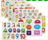 Wholesale 30 cm Letters Numbers Animals Fruits Vegetables Puzzel Wooden Educational Toys for childrens Chirstmas gift