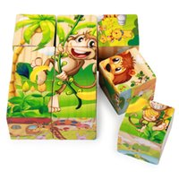 Wholesale 9 woodiness grain of six sides draw d puzzle product wooden baby baby early childhood educational toys years old children