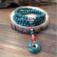 al por mayor pulsera de tres cuerdas-Los nuevos hombres y mujeres generales 108 pulsera de cuentas pulsera de cerámica creativa con tres veces la mano de la cadena de pulsera de cuentas verdes