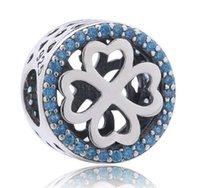 Vintage 925 Sterling Silver PÉTALES D'AMOUR CHARME Cœur Antique CZ Bleu Perles Fit Original Pandora Bracelet Pour Femmes Bijoux