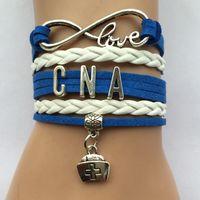 bar jobs - Drop Shipping Infinity Love CNA Nurse Charm Bracelet Leather Braid Job Career Business Gift