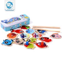 Wholesale Fishes Fishing Rods Wooden Children Toys Fish Magnetic Pesca Play Fishing Game Tin Box Kids Educational Toy Boy girl
