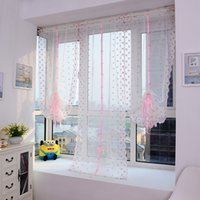 Wholesale Pink Floral Door Roman Style Window Scarf Sheer Floral Curtain Drape Voile