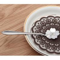 best stainless flatware - Stainless Steel Silver Tea Coffee Spoon Teaspoons Tableware Flower Shape Sugar Ice Cream Flatware Kitchen Tool Best Price pc