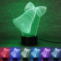 bell switch - 3D LED Night Light The Christmas Bell Nightlight Colorful Keys Visual Gifts Atmosphere Table Lamp Fashion Lights rm