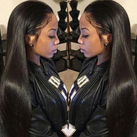 Silky Straight big retailers - cheap price big sale for wig retailer natural black virgin indian human hair silky straight ponytail lace front wigs