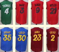 Wholesale Men s Durant curry Wade James Butler Rondo Irving Isaiah Thomas Red Green Blue Christmas jerseys Top QUality