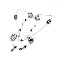 animal print lanyards - GL052 pc fashion eyewear jewelry custom black and white stripped zebra print eyeglass rope chain lanyards