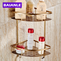 antique corner shelf - Wall Mounted Antique NEW Copper Bathroom Shower shampoo Shelf Shampoo Soap Cosmetic Storage Basket Holder Fashion Double Layer