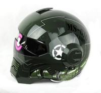 Wholesale New Style Glossy Green Full Face MS US Army Star Trooper Motorcycle Bike Chopper DOT Helmet