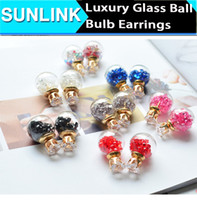 Wholesale 2017 fashionable shining Transparent new Glass bulb color five pointed star bubble double sided earrings for girl women earring