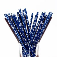 anchor paper - 25pcs Anchor Paper Straws Cake Pops Nautical Navy Blue Drinking Straws Bar decoration Party kitchen drinking straws