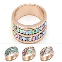 Wholesale Engagement Rings Fingers Fashion Wedding Women Ring with Double Line of Crystals Diamond Paved Rose Gold Plating Jewelry Gift Ring Hot Sale