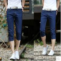 Edición de han del verano de los pantalones vaqueros de los hombres de los pantalones de los pantalones siete pantalones vaqueros de los pantalones vaqueros flaco masculino Azul puro