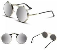 Nouveau Wholesale-VEGA Best Flip Up Lunettes de soleil Hommes Femmes Steam Punk Glasses Round Steampunk Lunettes de soleil Circle Glasses Vintage Spectacles 3057