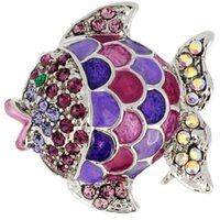 amethyst purple brooches - Amethyst Purple Crystal Fish Pin Brooch