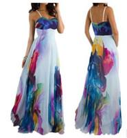 Wholesale 2017 new Europe US fashion sexy Sling Tube Top strapless Digital printing dress chiffon long dress