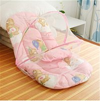 baby cradle sets - Infant Cushion Mattress Pillow Bedding Crib Netting Set Portable Newborn Folding Baby Bed Cradle Crib with Folding Mosquito Net