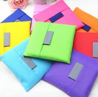 Wholesale Square Pocket Shopping Bag Candy mixed colors Available Eco friendly Reusable Folding Handle Polyester Bag JF