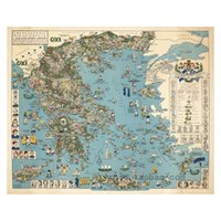 ancient greece - 16X12 X16 Print oil painting on cotton canvas Map of ancient Greece YG1834