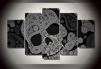 Wholesale Abstract pieces of black and white Skull Canvas Wall Art Picture for Home Decoration unframed