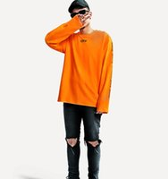 Wholesale 2017 hiphop VLONE X off white tops tees kanye west harajuku kpop friends printed crewneck long sleeve t shirt mens clothes