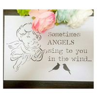 Wholesale laser cut stencils Masking template For Scrapbooking album drawing and more Angel playing the harp