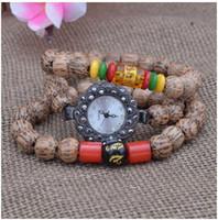 antique wood buddha - women fashion watches DIY Six words mantra onyx female watches personality elastic rope retro coconut wood Bodhi Buddha beads bracelet watch