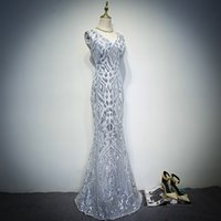 Wholesale 2017 New Design Sexy Shining Silver Prom Dresses Cheap Mermaid Long Sequined Formal Evening Party Gowns Purple Prom Dress Custom Made