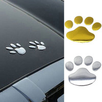 Wholesale 2017 D Car Silver Golden ST Window Bumper Body Decal Sticker Bear Cat Dog Paw Foot Prints P9S