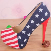 american flag wedding dress - Women Pumps New American Flag High With cm High Heels Women Shoes Party Shoes Woman Pumps Plus Size