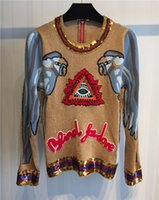 Wholesale 2016 Winter big women s fine parrot inlaid sequins nail drill embroidery sweater sweaters