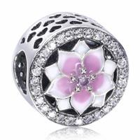 Blooming Dahlia 925 Sterling Silver Lotus Flowers Perles d'argent avec émail blanc et rose et cristal s'adapte Europe Serpent Bracelet