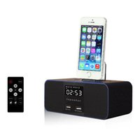estación de la música de la música del iphone al por mayor-Altavoz inalámbrico Bluetooth S6 Fm Radio despertador Audio portátil de música de 8 pines cargador Dock Station para iPhone SE 5S 6 6s 7 Plus