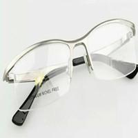 cheap new pure titanium frames male myopia glasses frame custom half big face super light box