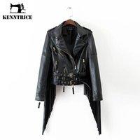 Wholesale Kenntrice New Arrived Tassel Sleeve Leather Jackets Women Adjustable Waist Coats Short Bomber Jacket Basic Coat Women Punk Style