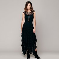 Acheter Femme sexy-Vente en gros- Femmes Boho People Hippie Style Lrregular Lace Dress Sexy Long Dress Double Layered Ruffled Trimming Low V-Back Plus récent