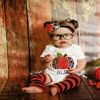 apple leggings - Baby Summer Christmas Clothes Sets Infant Toddlers Apple Short Sleeve Romper Stripe Foot Straps Leggings Two Piece Sets