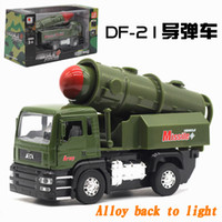 Wholesale 1 Die casting Alloy military vehicle model DF missile vehicle Simulation model toys Gifts Diecast Model Cars Pull Back Tank