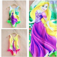 One-piece Girl Children's Day Rapunzel Baby Girls Swimwear One Piece 2017 Summer Cartoon Tangled Swiming Suits Bathing Suits Girl Swimsuit Beach Wear 324