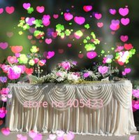 Wholesale ft M M White luxury Wedding shinning ice silk table Skirt With Swag