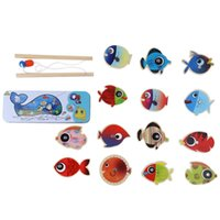 Cheap Wholesale-New Children Fishing Toys Magnetic Wooden Fishing Game Toy Outdoor Toy Gifts for Kids 14 Fishes + 2 Fishing Rods Educational Toy