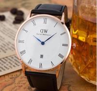 Wholesale top luxury Brand Fashion DW Calendar Thin Dial Leather Straps Casual Business Wristwatches For Men Women Dianel Wellington Roman Dial watch